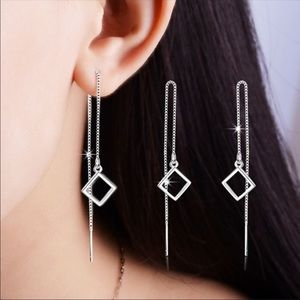 Jewelry - Silver diamond drop earrings